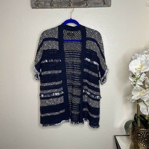 Lucky Brand Striped Knit Fringe Sweater Poncho